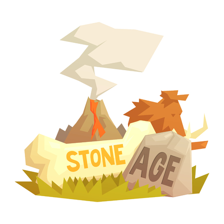 Stone age elements, volcanic eruption, mammoth, prehistoric symbols Illustration