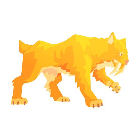 Een sabel getande tijger, een steentijd karakter, kleurrijke vectorillustratie Stock Illustratie