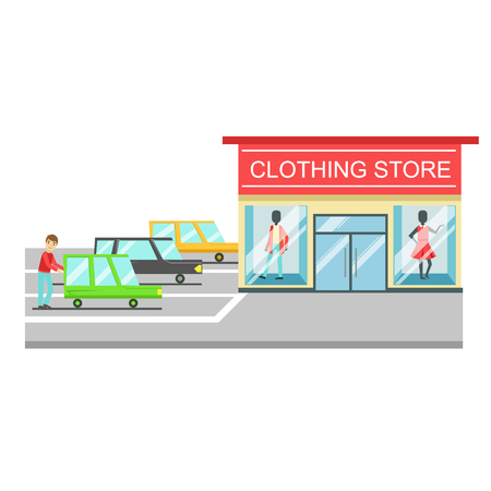 Clothing store, boutique of women clothes fashion, exterior building Illustration