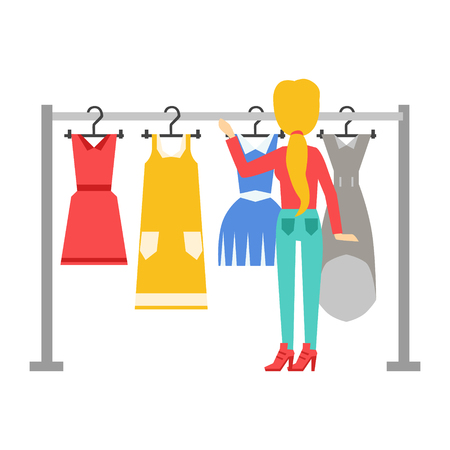 Woman choosing dresses during shopping or being in wardroom at home, shopping center or store, colorful vector illustration Illustration