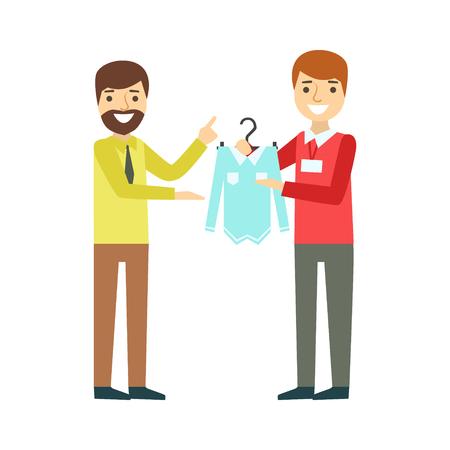 Man choosing shirt during apparel shopping at clothing store, colorful vector illustration