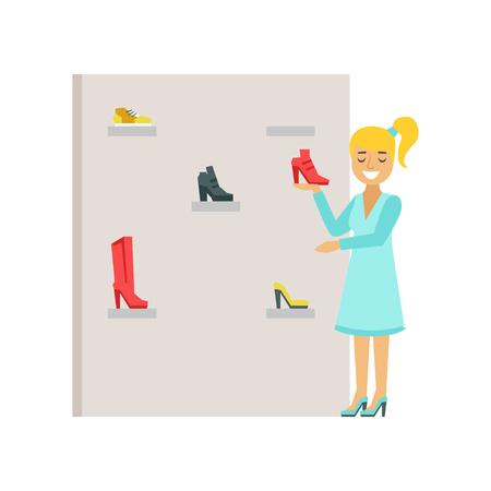 Donna bionda che sceglie le scarpe in un deposito di scarpe, illustrazione variopinta di vettore Archivio Fotografico - 77189817
