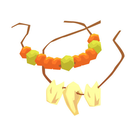 Primitive necklaces made of animal teeth and gemstones, colorful vector illustration