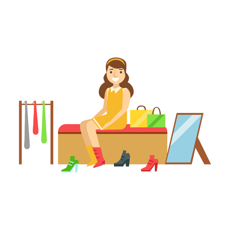 Woman trying on several pairs of new shoes in the store, colorful vector illustration