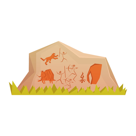 Prehistoric rock engravings, colorful vector illustration isolated Иллюстрация