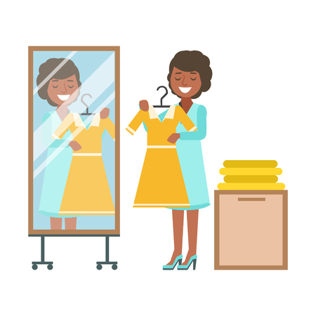 Woman trying on yellow dress in dressing room, colorful vector illustration Illustration