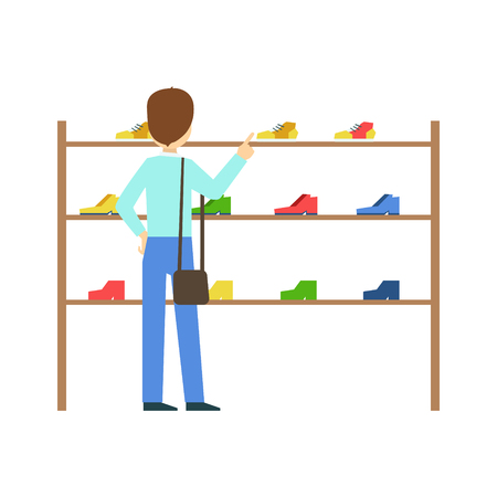 Man buying shoes in a shoe store, colorful vector illustration Illustration