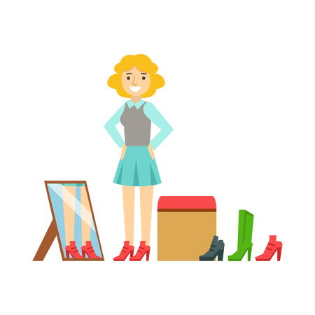 Women trying on shoes in a shoes store, colorful vector illustration Illustration