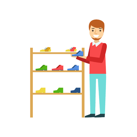 Smiling man holding a shoe in the shoe store, colorful vector illustration