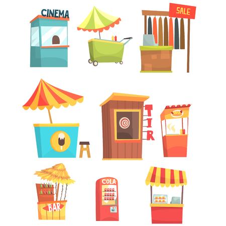 見本市会場し、市場の屋台とショップ キオスク、小さな一時的な漫画イラストの販売セットの略  イラスト・ベクター素材