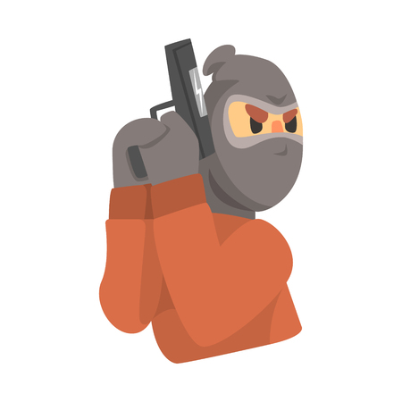 Masked robber with gun. Colorful cartoon character Illustration