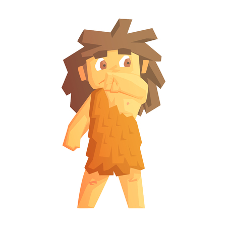 neanderthal women: Cute cave girl dressed in animal skins, stone age character, colorful vector illustration