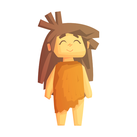 Cute cave girl smiling with closed eyes, stone age character, colorful vector illustration Illustration