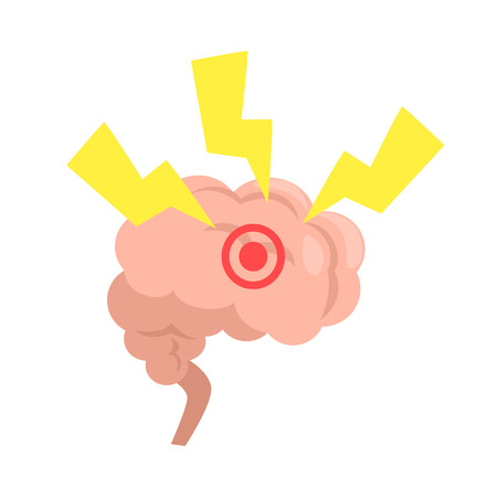 Stress Affecting Human Brain, Internal Organ Stressed With Outside Factors Vector Illustration.