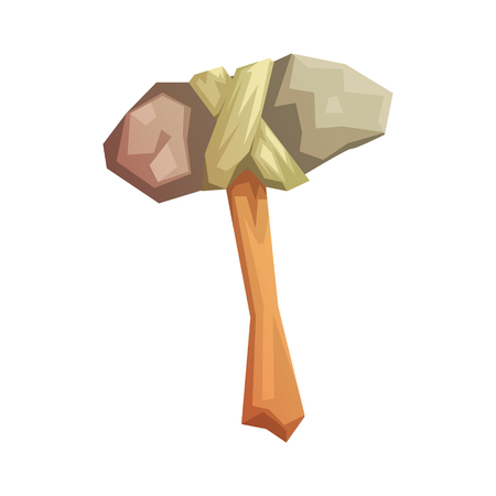 Prehistoric stone axe, colorful vector illustration Illustration