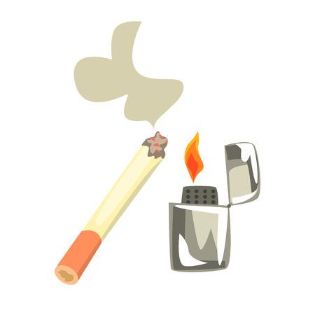 Lighter and burning cigarette. Colorful cartoon Illustration Ilustração
