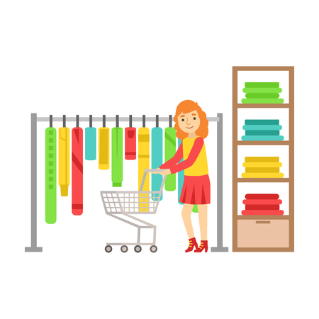 Woman shopping in clothes store, colorful vector illustration