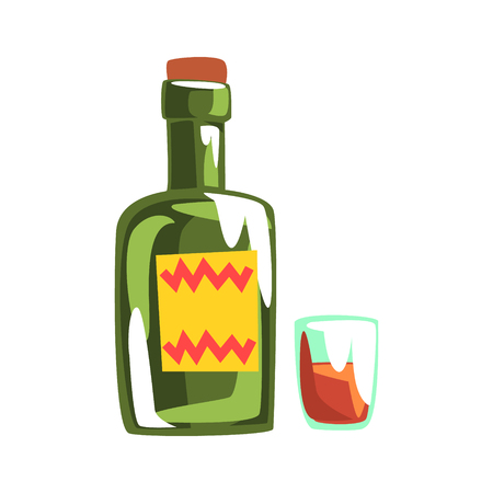 Whiskey bottle and glass. Colorful cartoon Illustration