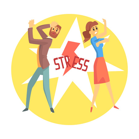 Stressed man and woman. Colorful cartoon character