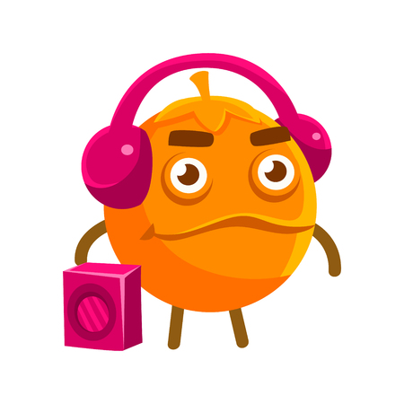 Cute cartoon orange fruit listening to the music with a boombox and headphones, colorful character vector Illustration isolated on a white backgroun Illustration