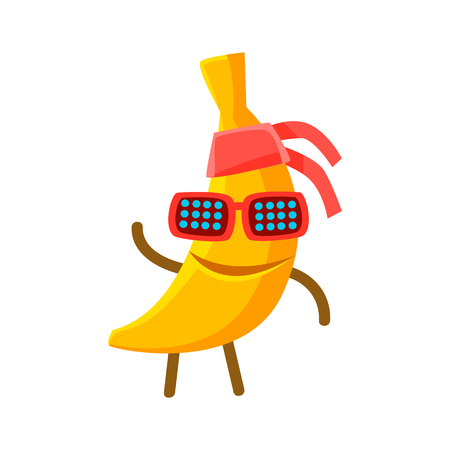 Happy smiling banana fruit in sunglasses and bandana. Colorful character cartoon vector Illustration isolated on a white background