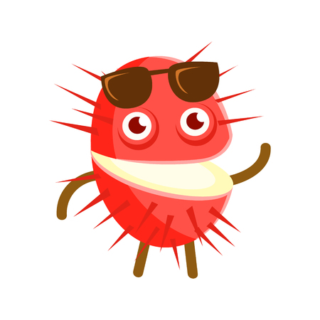 Happy smiling rambutan with sunglasses, colorful character cartoon vector Illustration isolated on a white background