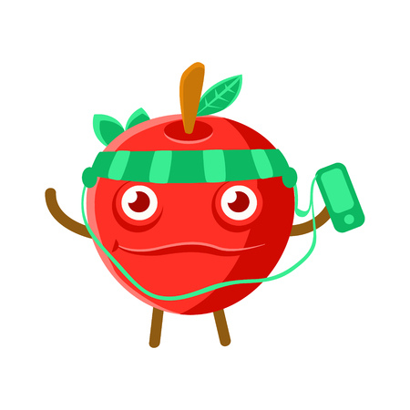 Cute cartoon happy red apple listening to the music with a smartphone and headphones, colorful character vector Illustration isolated on a white backgroun Illustration