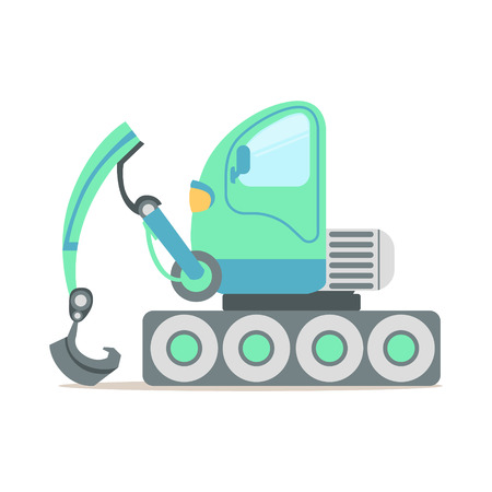 Green excavator truck, construction machinery equipment colorful cartoon vector Illustration isolated on a white background