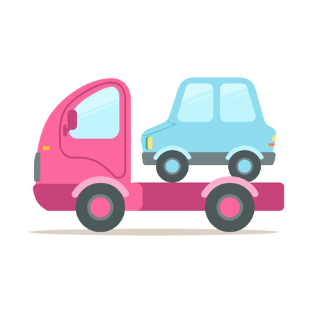 Pink tow truck, service of evacuation colorful cartoon vector Illustration isolated on a white background