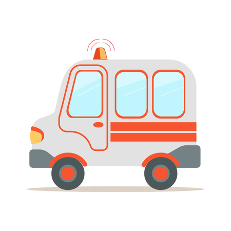 Ambulance car, emergency medical service vehicle colorful cartoon vector Illustration isolated on a white background