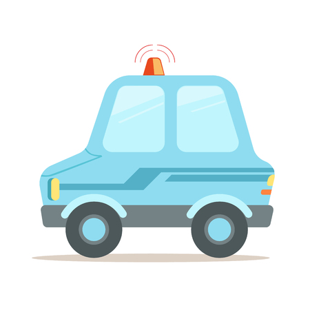 Light blue cartoon police car vector Illustration isolated on a white background