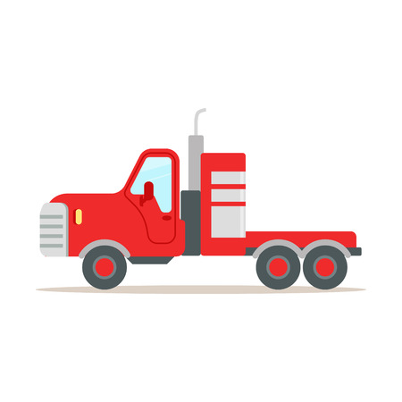 Red cargo truck colorful cartoon vector Illustration isolated on a white background Illustration