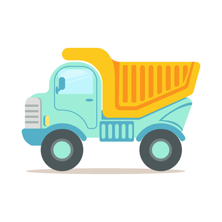 Heavy duty dump truck, construction machinery equipment colorful cartoon vector Illustration isolated on a white background Illustration