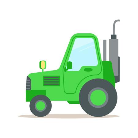 녹색 트랙터, 무거운 농업 기계 다채로운 만화 벡터 일러스트 레이 션 흰색 배경에 고립