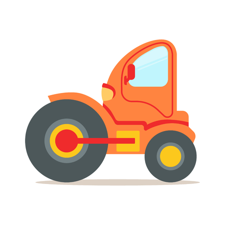 Orange steamroller truck construction machinery colorful cartoon vector Illustration isolated on a white background Illustration