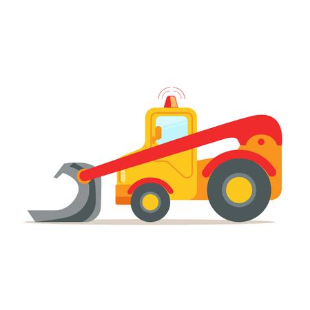 Bulldozer giallo, illustrazione variopinta di vettore del fumetto dell'attrezzatura del macchinario edile isolato su un fondo bianco Archivio Fotografico - 77278131