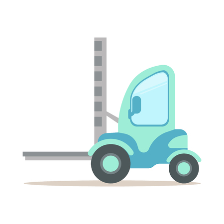 Light blue forklift truck, warehouse and logistics equipment colorful cartoon vector Illustration