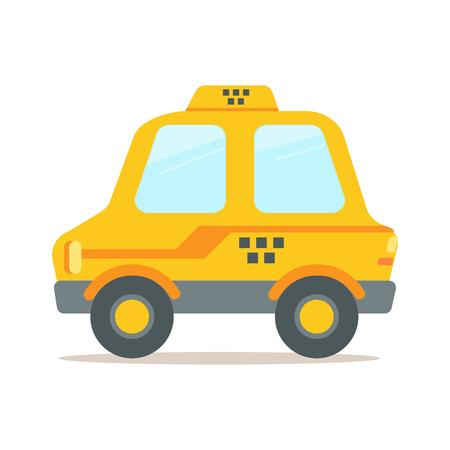 Yellow taxi car colorful cartoon vector Illustration
