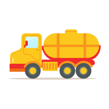 Cargo truck with tank for transporting liquids, colorful cartoon vector Illustration