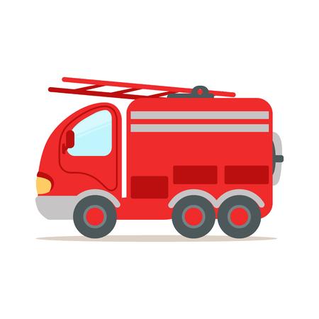 Camion de pompier rouge, vecteur de dessin animé coloré d'urgence incendie Banque d'images - 77278581