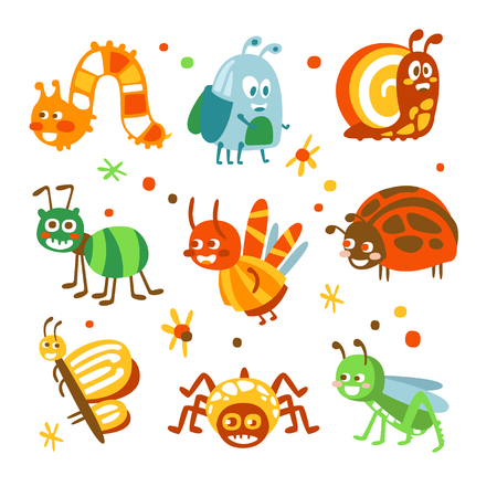 Cartoon funny insects and bugs set. Colorful collection of cute insect Illustrations