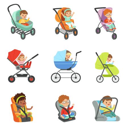 유모차 세트. 어린이 전송 다채로운 삽화