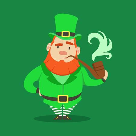 Cute cartoon dwarf Leprechaun standing with smoking pipe. Saint Patricks Day colorful character