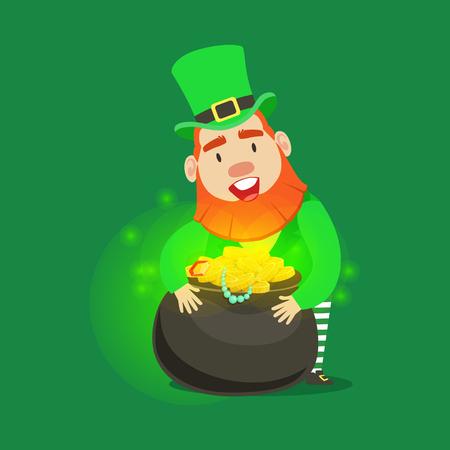 Cute cartoon dwarf Leprechaun with pot of gold. Saint Patricks Day fairy tale colorful character Illustration