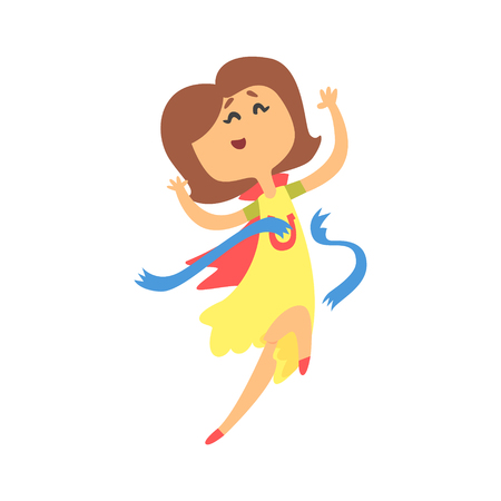 Cute cartoon woman crossing blue finishing line. Colorful character vector Illustration