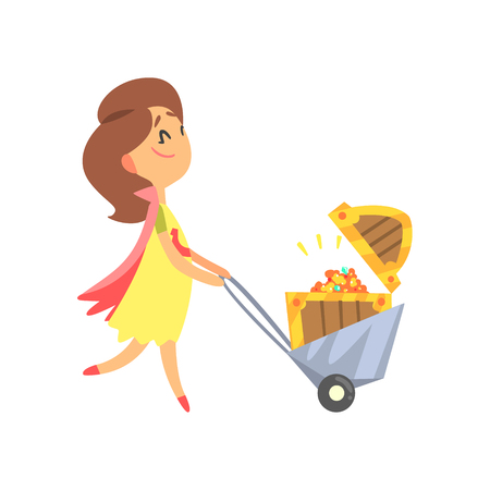 Cute cartoon woman pushing the cart with the treasure chest. Colorful character vector Illustration