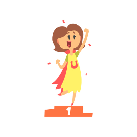 Cute cartoon woman standing on winner podium and holding her fist up. Colorful character vector Illustration Illustration