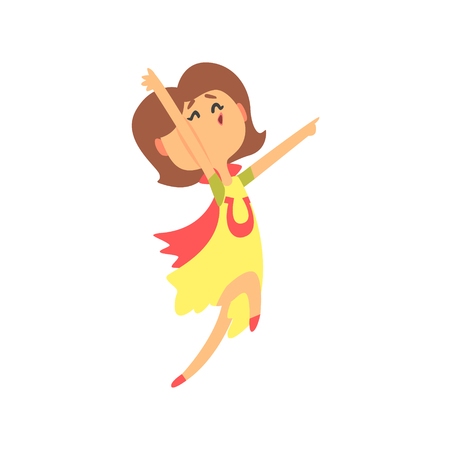 Cute happy surprised cartoon woman jumping. Colorful character vector Illustration
