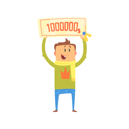 Cartoon happy man with check for one million dollars in his hands. Colorful character vector Illustration