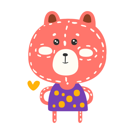 Cute pink teddy bear in purple dress standing. Funny lovely animal colorful cartoon character vector Illustration